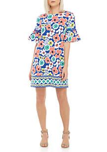 Crown & Ivy™ Petite Short Bell Sleeve Print Dress