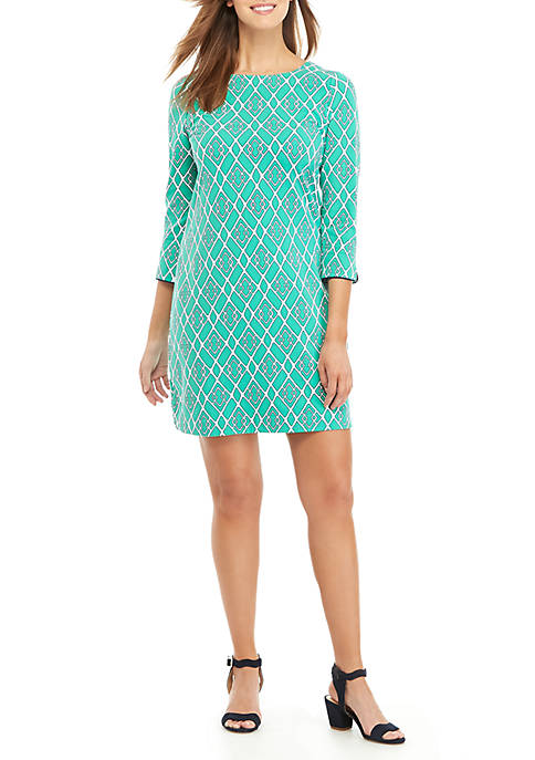 Petite 3/4 Sleeve Bow Back Lattice Dress