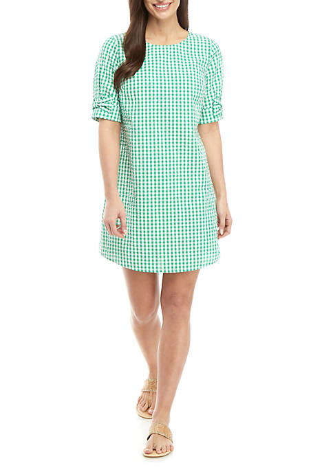 Crown & Ivy™ Petite Elbow Bow Sleeve Gingham