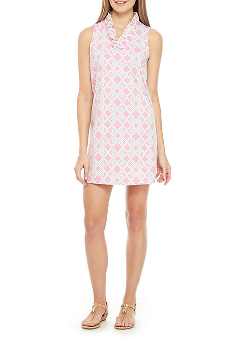 Petite Sleeveless Ruffle Neck Print Dress