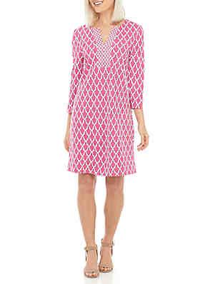 cdc59a876ec Crown   Ivy™ Petite 3 4 Sleeve Lattice Print Dress ...