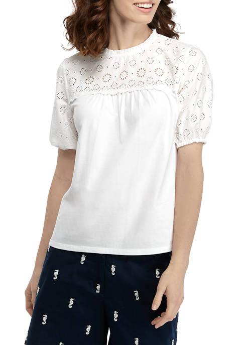 Crown & Ivy™ Petite Eyelet Knit 2 Woven
