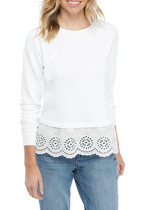 Crown & Ivy™ Petite Long Sleeve Eyelet Hem