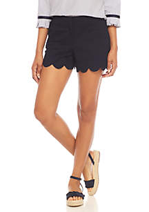 Petite Solid Scallop Shorts