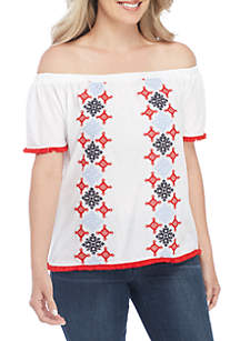Petite Off-the-Shoulder Embroidered Knit Top