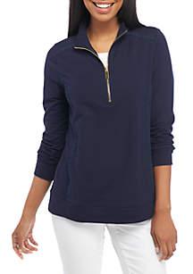 Petite Quarter Zip Long Sleeve Pullover