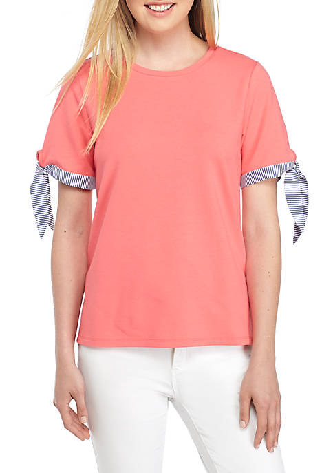 Crown & Ivy™ Petite Short Tie Sleeve Top