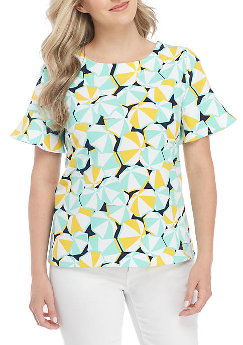 Crown & Ivy™ Petite Short Sleeve Tie Print