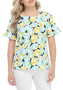 Petite Short Sleeve Tie Print Top