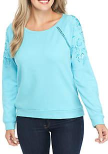 Petite Long Sleeve Embellished Solid Sweatshirt