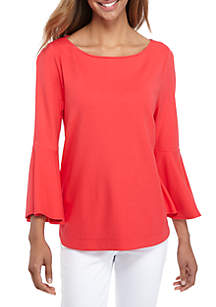 Petite 3/4 Bell Sleeve Boat Neck Top