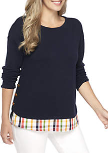 Petite Long Sleeve Solid Button 2Fer