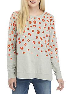 Petite Long Sleeve Cheetah Print Sweatshirt