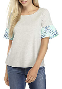 Petite Short Sleeve Heather Solid Sweater