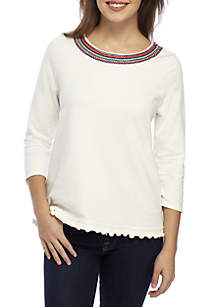 Petite 3/4 Sleeve Embroidered Neck Knit Top
