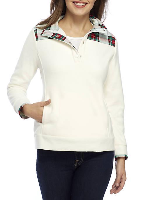 Petite Long Sleeve Mock Neck Fleece