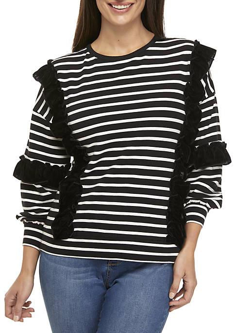 Petite Long Sleeve Ruffle Sweatshirt
