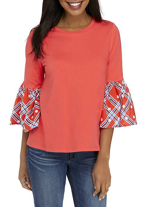 Crown & Ivy™ Petite 3/4 Flare Sleeve Halo