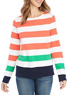 Petite Long Sleeve Stripe Textured Top