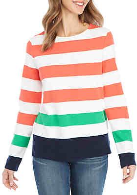 a192b3a72245d Crown   Ivy™ Petite Long Sleeve Stripe Textured ...