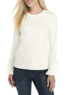 Crown & Ivy™ Petite Long Ruffle Sleeve Knit Top