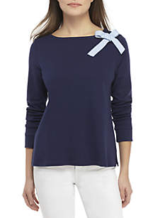 Crown & Ivy™ Petite Long Sleeve Round Neck Bow Top