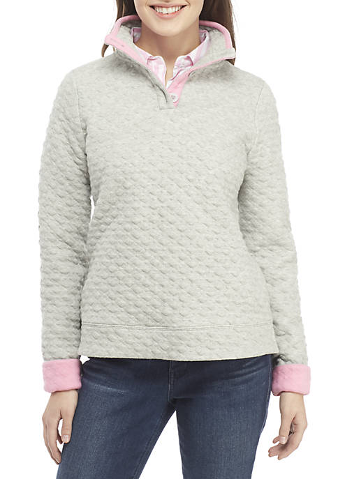 Crown & Ivy™ Petite Long Sleeve Quilted Button
