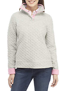 Petite Long Sleeve Quilted Button Sweatshirt
