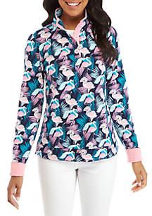 Petite Long Sleeve Print Button Sweatshirt