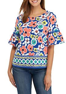 Crown & Ivy™ Petite Elbow Bell Sleeve Print Top