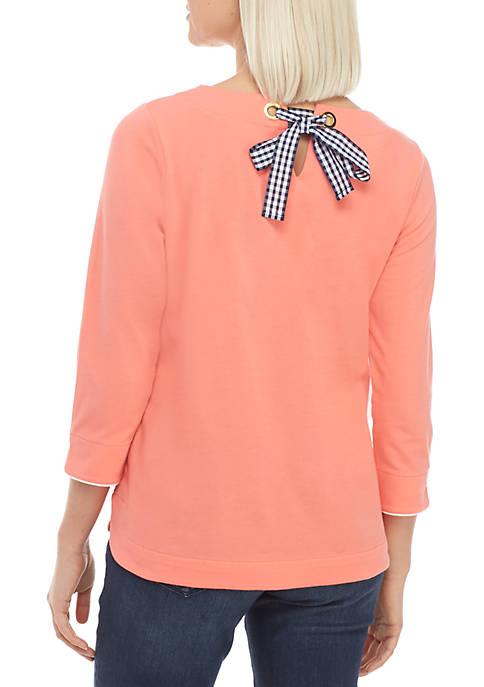 Petite 3/4 Sleeve Split Neck Bow Back Top