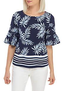 Crown & Ivy™ Petite Short Bell Sleeve Print Top