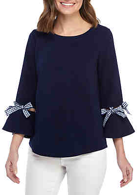 21e91183b87 Crown   Ivy™ Petite 3 4 Bow Sleeve Crew Neck ...