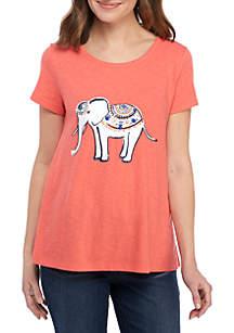 Crown & Ivy™ Petite Short Sleeve Elephant Print Top