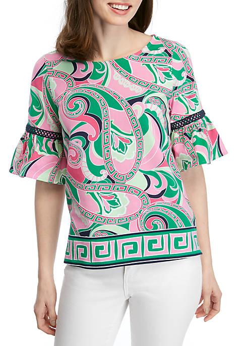 Crown & Ivy™ Petite Short Bell Sleeve Printed