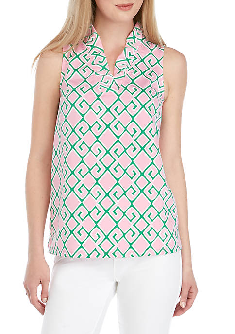Crown & Ivy™ Petite Sleeveless Ruffle Neck Top