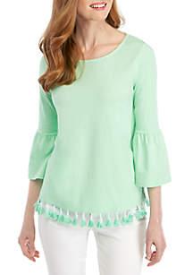 Crown & Ivy™ Petite 3/4 Sleeve Tassel Hem Top