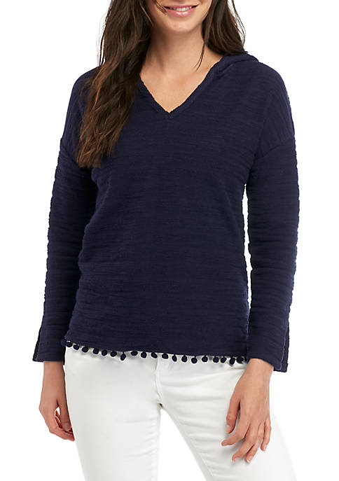 Crown & Ivy™ Petite Long Sleeve Pom Trim