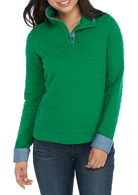 Crown & Ivy™ Petite Long Sleeve Button Sweatshirt