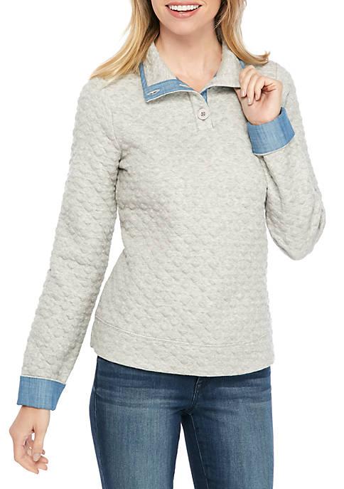 Crown & Ivy™ Petite Long Sleeve Button Sweashirt