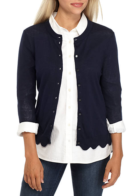 Crown & Ivy™ Petite Long Sleeve Scallop Cardigan