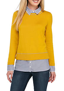 Petite Long Sleeve Piping 2Fer Solid Sweater