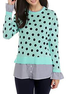 Petite Long Sleeve Ruffle Neck Sweater