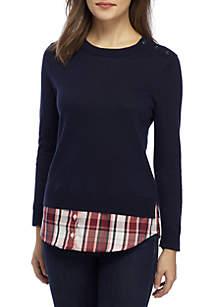 d59cfcd7953f Crown   Ivy™ Petite Short Bell Sleeve Print Dress · Crown   Ivy™ Petite 3 4  Sleeve Button Neck 2Fer