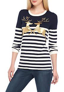 Petite Long Sleeve Intarsia Sweater