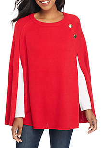 Petite Cape Sleeve Pullover Sweater