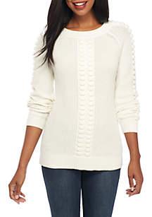 Petite Long Sleeve Popcorn Sweater