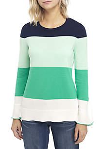 Crown & Ivy™ Petite Long Sleeve Ruffle Cuff Sweater
