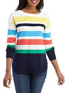 Petite Long Sleeve Stripe Crew Neck Sweater