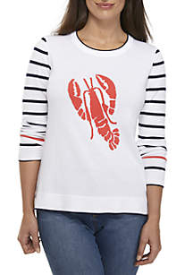 Crown & Ivy™ Petite Long Sleeve Lobster Sweater